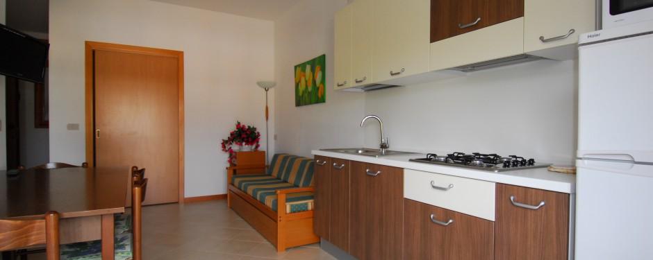 Salotto e cucina del bilocale piccolo
